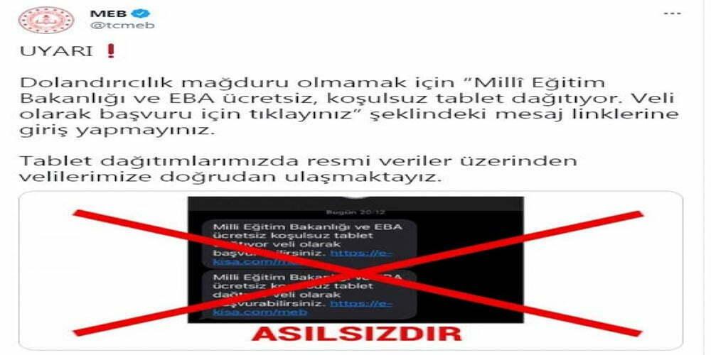 MEB'den vatandaşlara 'tablet mesajı' uyarısı
