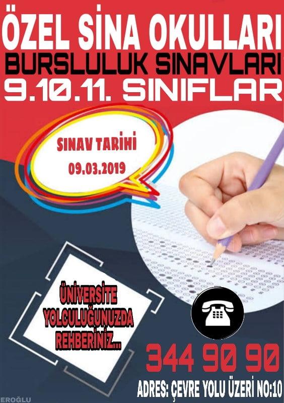 ÖZEL SİNA OKULLARI BURSLULUK SINAVLARI 9.10.11. SINIFLAR
