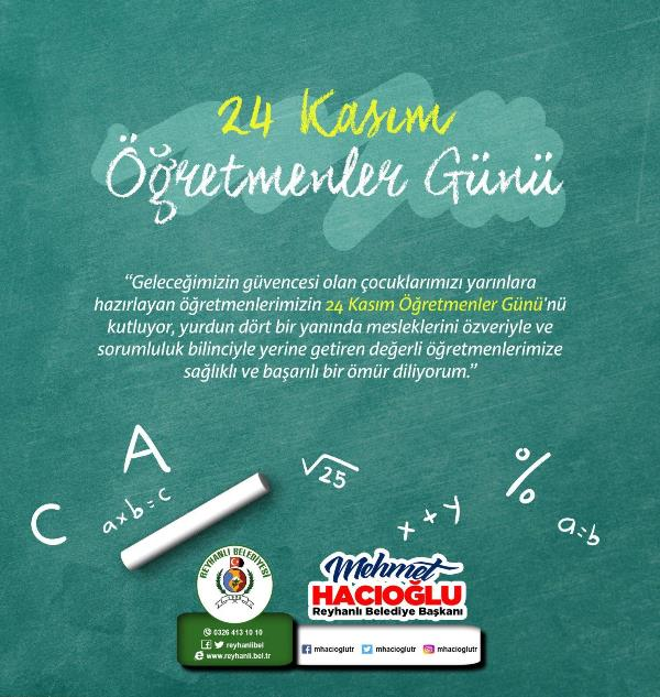 Başkan Hacıoğlu'nun 24 Kasım Öğretmenler Günü Mesajı