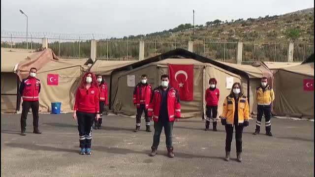 Suriye sınırında görevli sağlıkçılar videolu mesajla  14 Mart Tıp Bayramı'nı kutladı